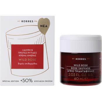 Korres - Wild Rose Άγριο Τριαντάφυλλο Λάμψη & Πρώτες Ρυτίδες Κρέμα Ημέρας Ξηρές Επιδερμίδες 60ml (+50% Επιπλέον Προϊόν)